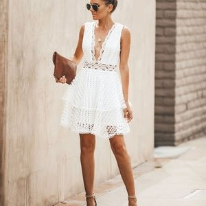 Vici Romantically Yours White Crochet Dress
